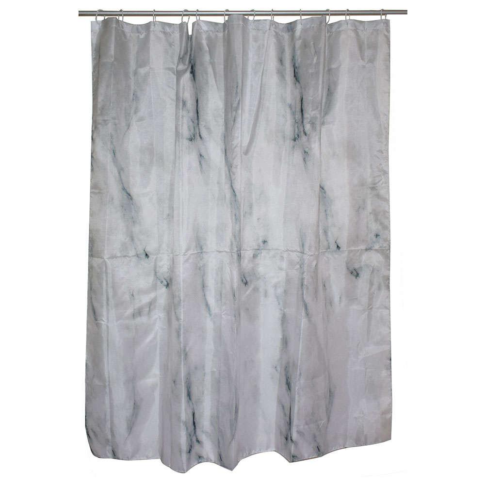 Κουρτίνα Μπάνιου Mαρμαριζέ 02-5702 Υφασμάτινη Γκρι Estia Φάρδος 180cm