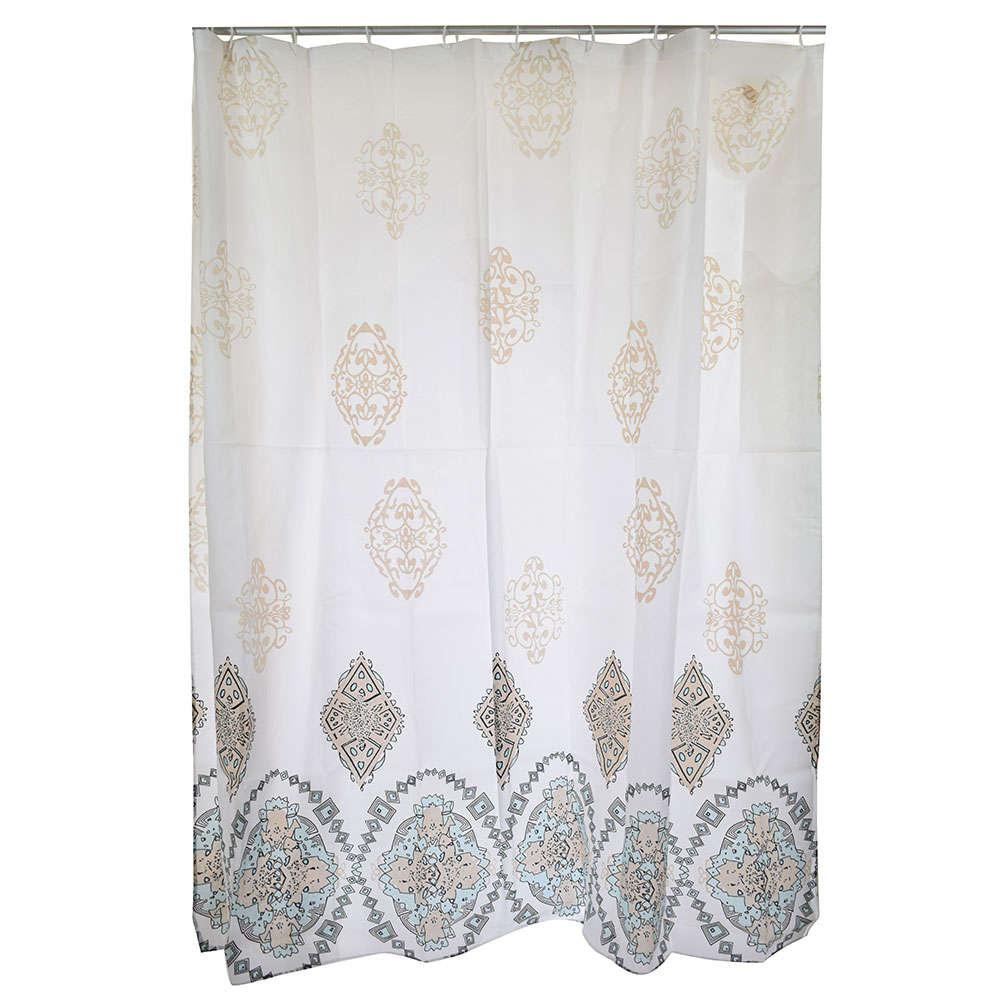 Κουρτίνα Μπάνιου Μandala 02-6495 Υφασμάτινη Άσπρη-Μπεζ Estia Φάρδος 180cm