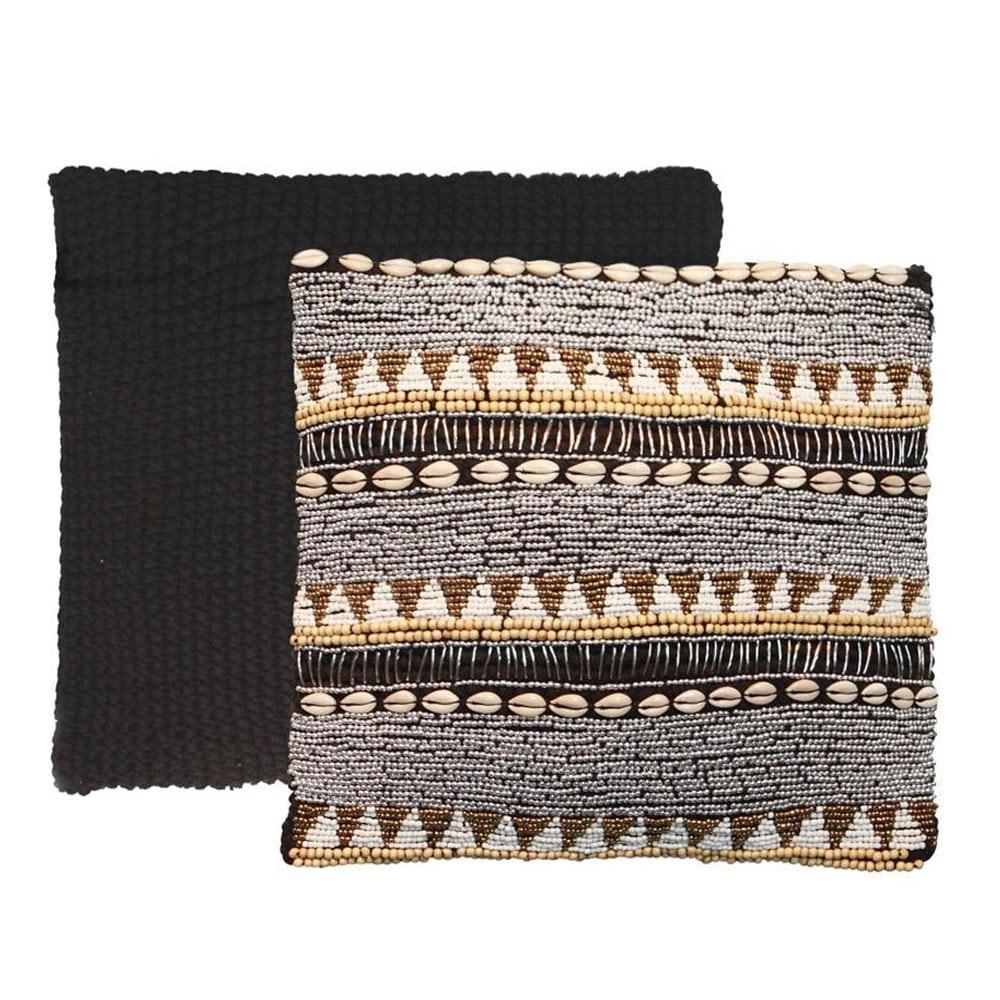 Διακοσμητική Μαξιλαροθήκη Fully Beaded Macrame Black-Beige Bazar Bizar 45X45 Beads