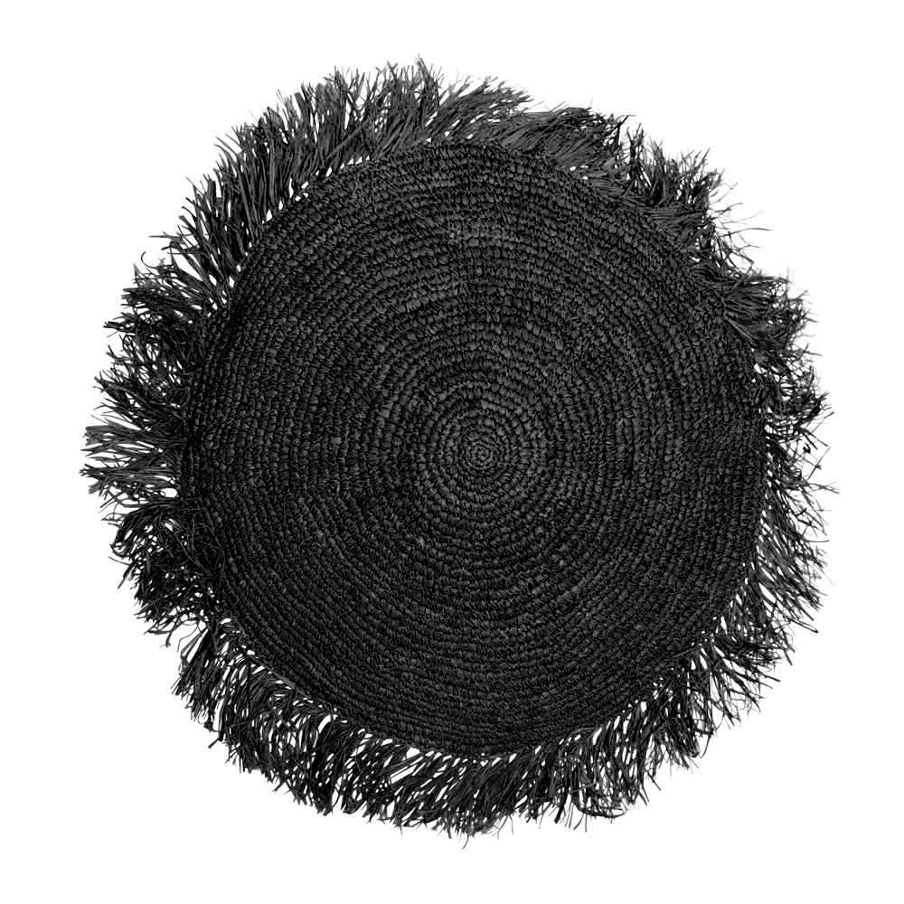 Διακοσμητική Μαξιλαροθήκη Raffia Round BA035B-M Black Bazar Bizar 40Χ40 Raffia