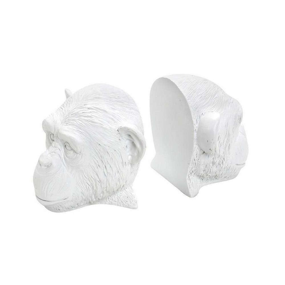 Διακοσμητικός Βιβλιοστάτης Πίθηκος LOB101 Λευκός 19,5x15,5x12,5cm Espiel Κεραμικό