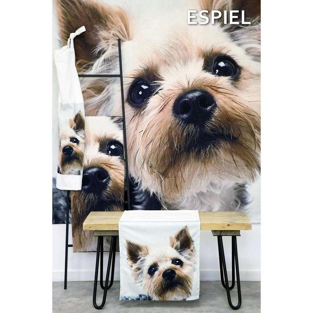 Τραπεζομάντηλο Σκύλος HEM238 Άσπρο-Καφέ Espiel 120X120