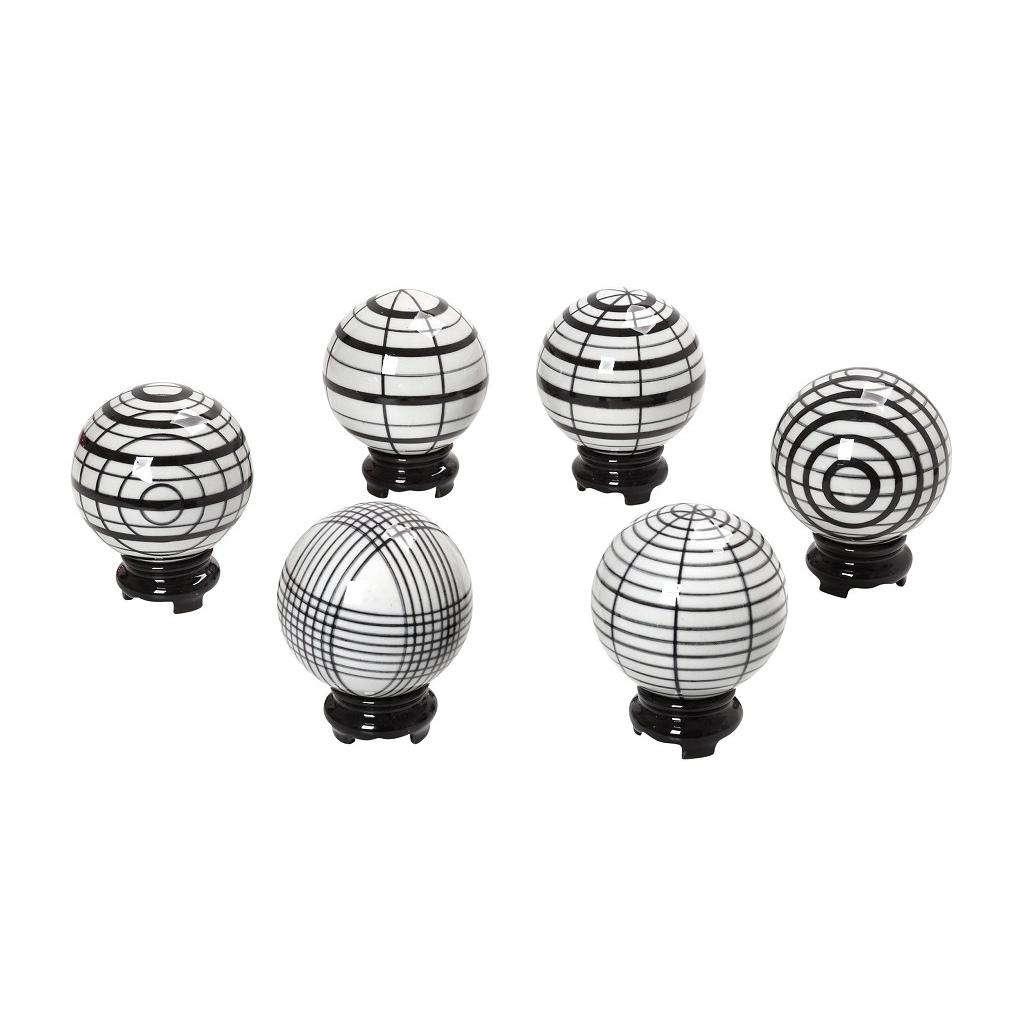 Διακοσμητικές Σφαίρες Assort FEG320K6 Σετ 6Τμχ Πορσελάνινες Ασπρόμαυρες 6X6X6Cm Espiel Πορσελάνη
