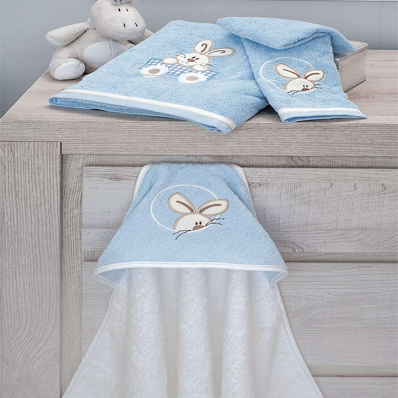 Πετσέτες Σετ 2τεμ Des.141 Happy Bunny White-Ciel Baby Oliver Σετ Πετσέτες
