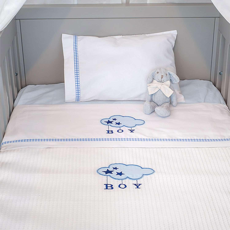 Σεντόνια Σετ 3τεμ. Des.143 – Blue Cloud White-Ciel Baby Oliver Κούνιας 110x165cm