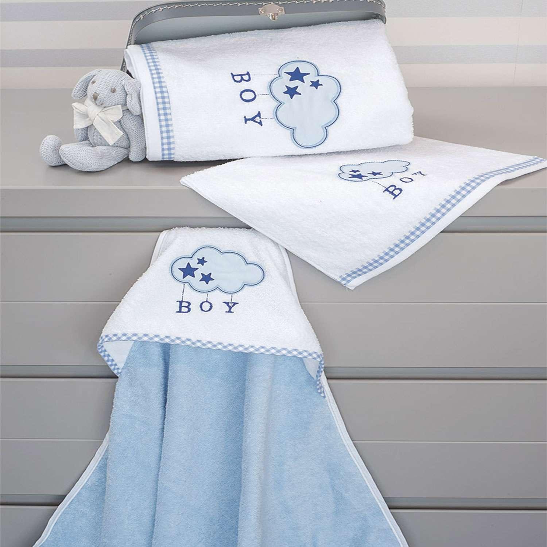 Πετσέτες Σετ 2τεμ. Des.143 – Blue Cloud White-Ciel Baby Oliver Σετ Πετσέτες