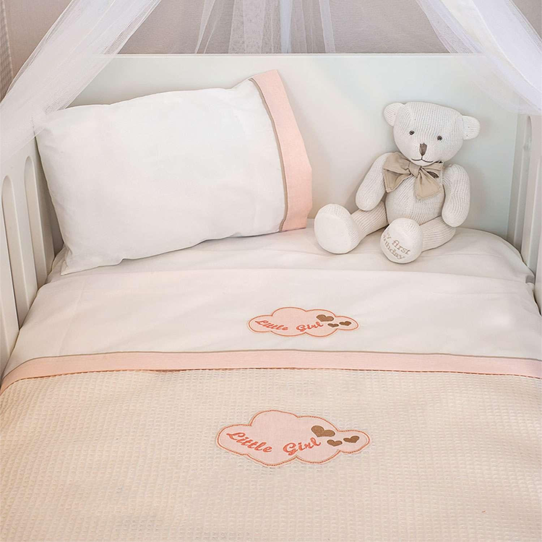 Σεντόνια Σετ 3τεμ. Des.144 – Little Girl White-Pink Baby Oliver Κούνιας 110x165cm