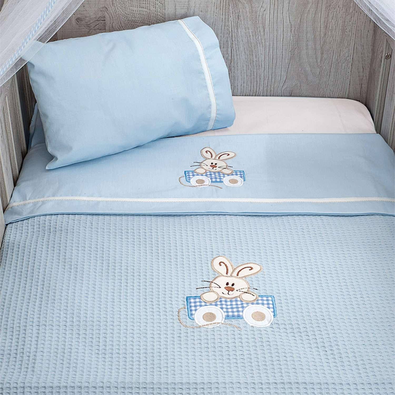 Σεντόνια Σετ 3τεμ. Des.141 – Happy Bunny White-Ciel Baby Oliver Κούνιας 110x165cm
