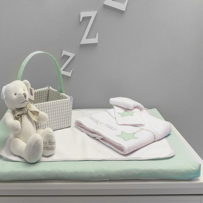 Αλλαξιέρα Με Σελτεδάκι Des.304 Lucky Star White-Green Baby Oliver 60x90cm