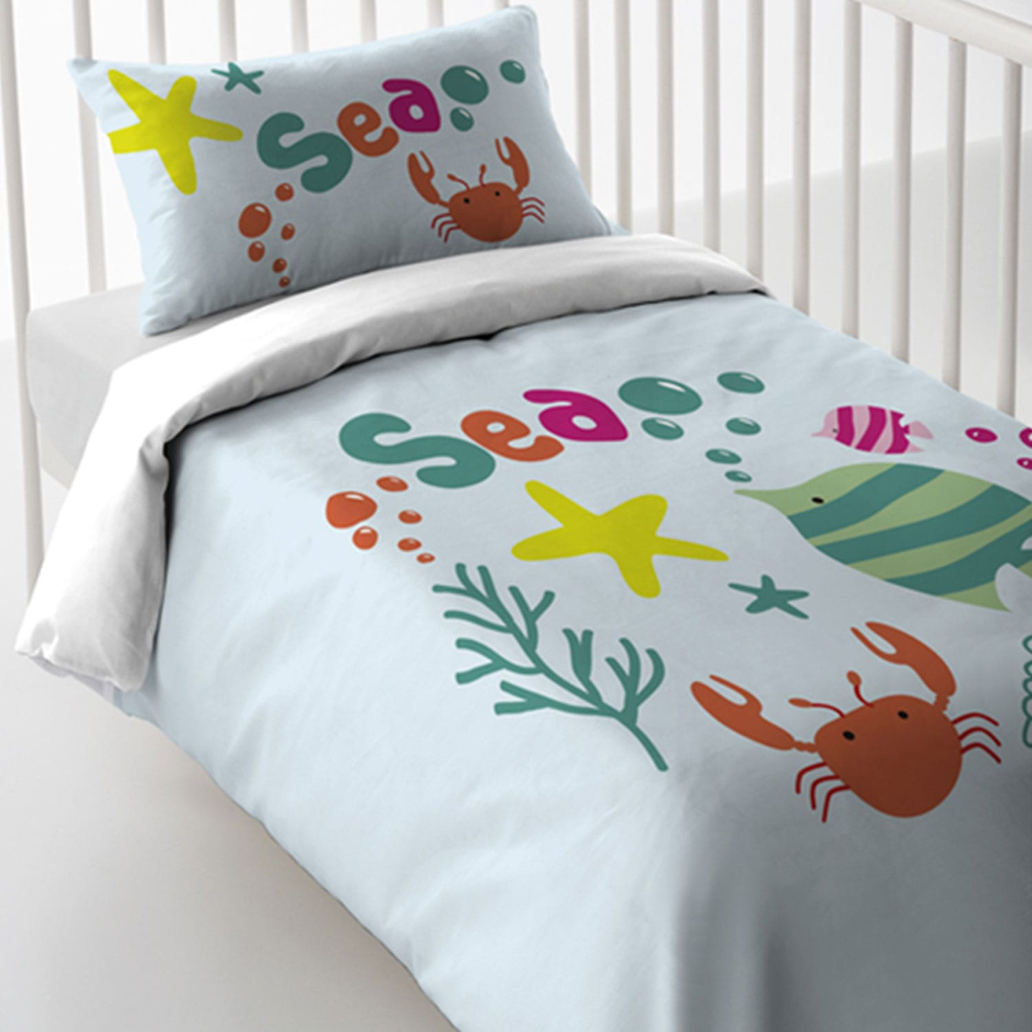 Παπλωματοθήκη Σετ Magic Print Baby 2187 White-Green Vesta 120x60cm
