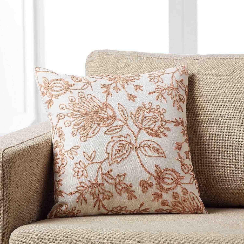 Μαξιλαροθήκη Maron 258/25 Κεντημένη Pink Gofis Home 45X45 100% Polyester