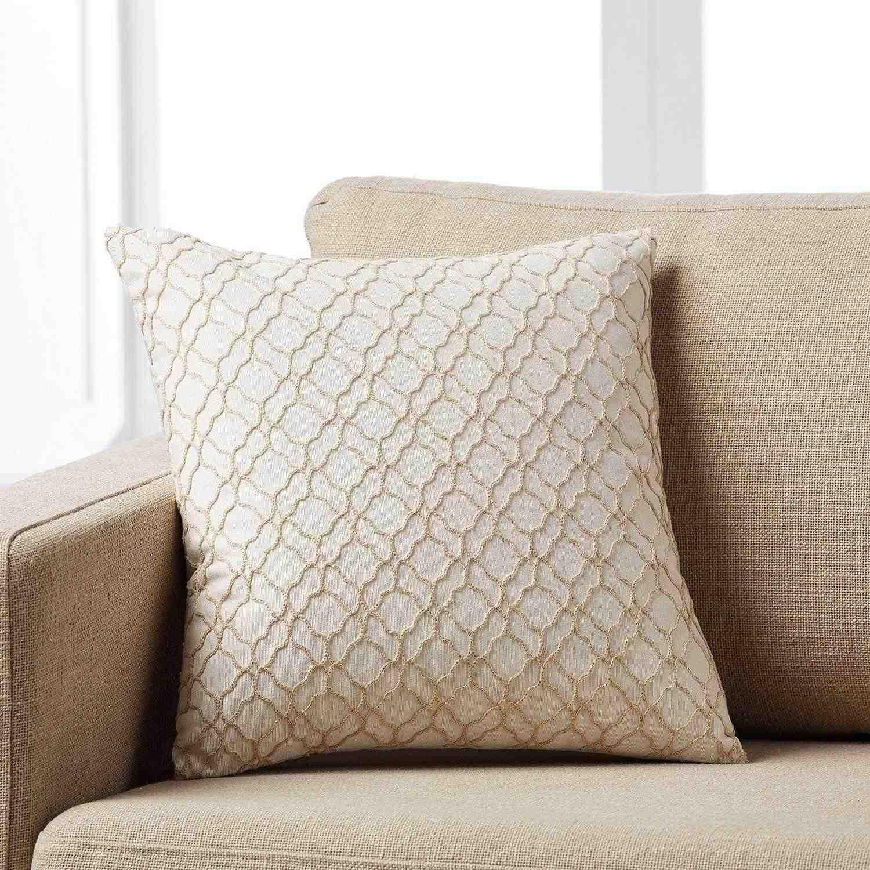 Μαξιλαροθήκη Sando 974/06 Κεντημένη Beige Gofis Home 45X45 Βαμβάκι-Polyester
