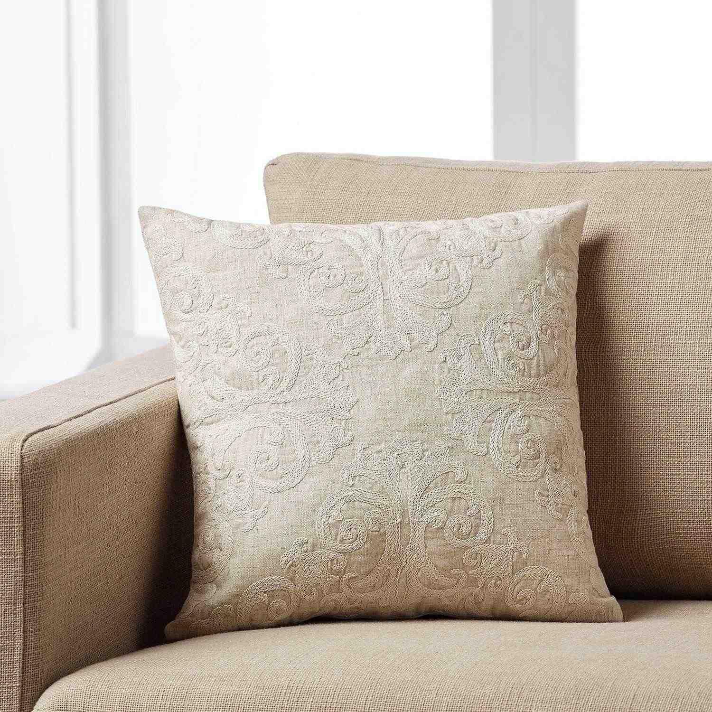 Μαξιλαροθήκη Artisti 576A/06 Κεντημένη Beige Gofis Home 45X45 Βαμβάκι-Polyester