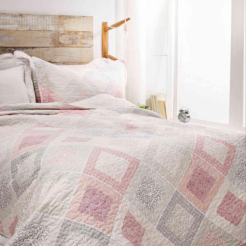 Κουβερλί Σετ 2τμχ. Kate White-Pink Gofis Home Μονό 160x220cm