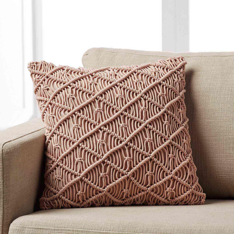 Μαξιλαροθήκη Arti 271/25 Πλεκτή Χειροποίητη Pink Gofis Home 45X45 Βαμβάκι-Polyester