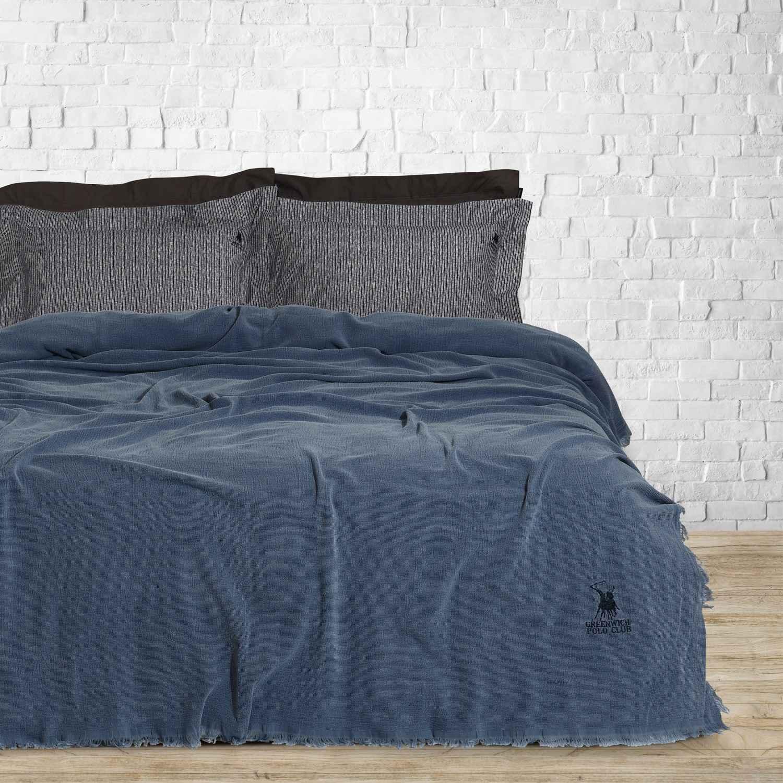 Κουβέρτα Stonewashed 2416 Blue G.P.C. Υπέρδιπλo 220x240cm