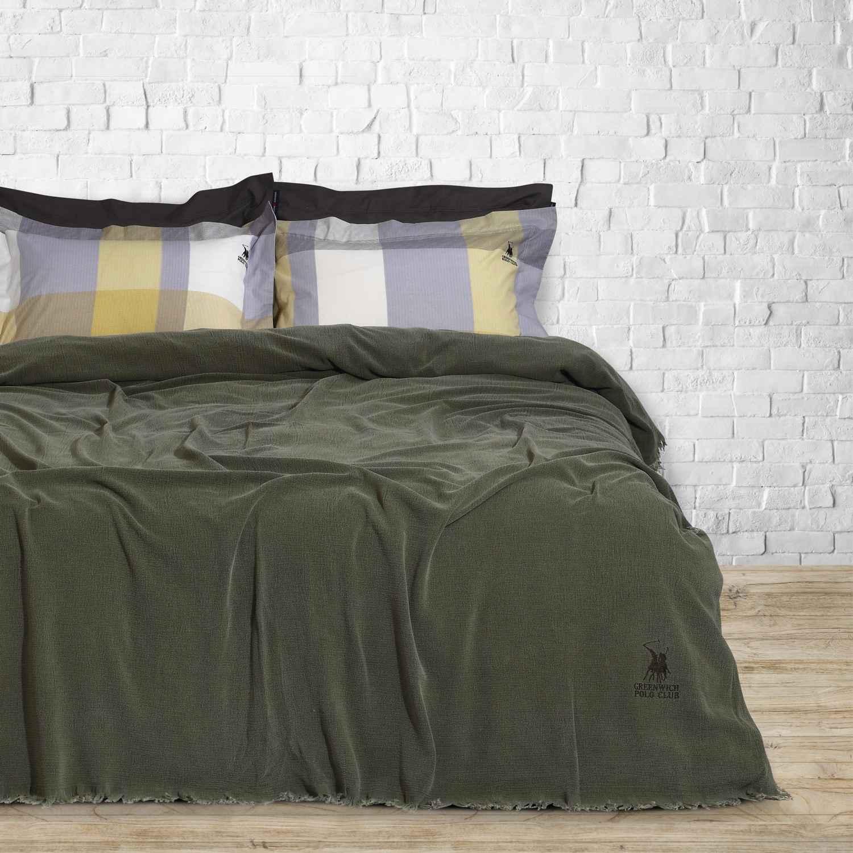 Κουβέρτα Stonewashed 2420 Olive G.P.C. Υπέρδιπλo 220x240cm