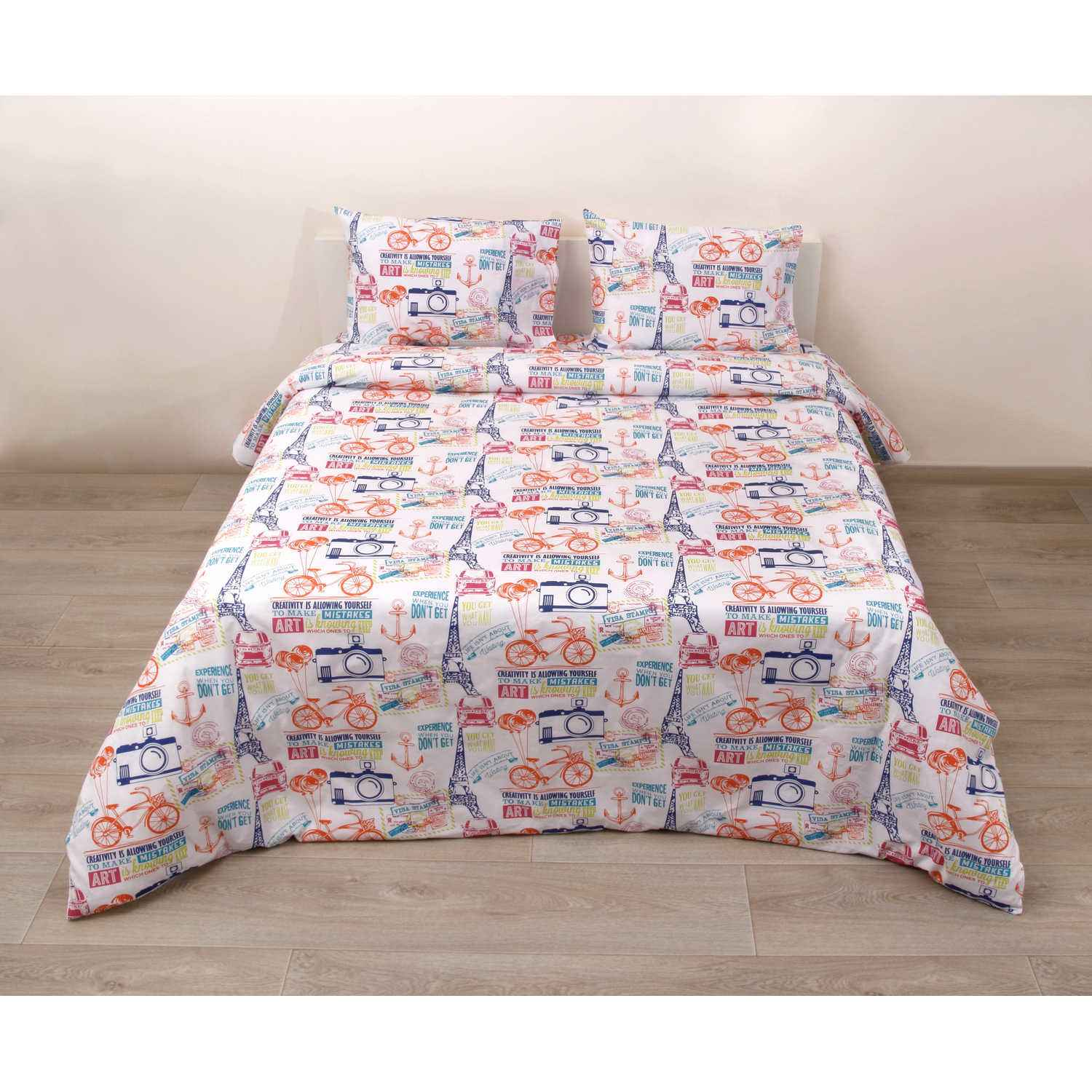 Σεντόνια Σετ 4Τμχ. 31908 White-Multi Viopros King Size 275x275cm
