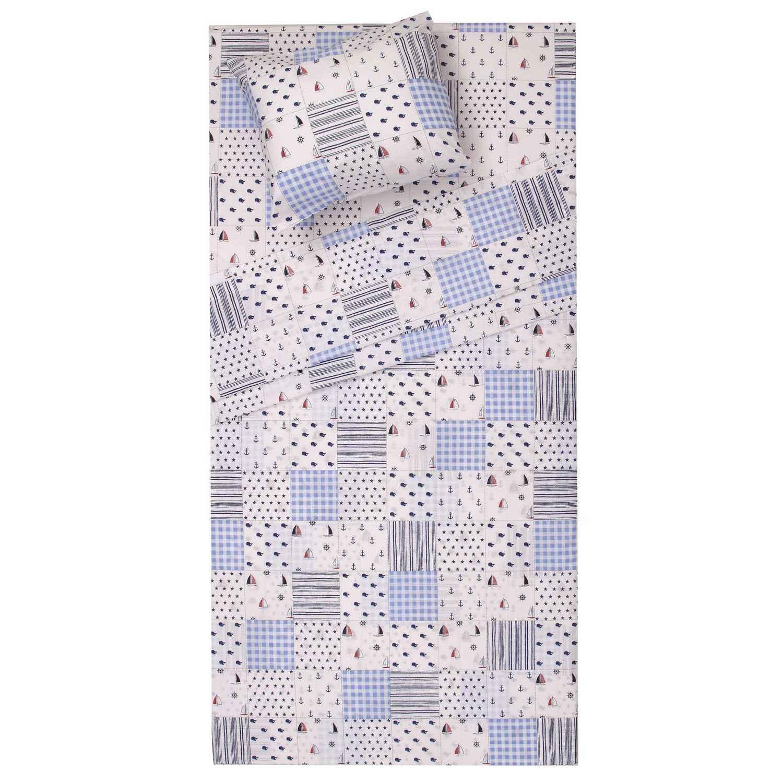 Βρεφικά Σεντόνια Σετ 2τμχ Κρούζ White-Blue Viopros Λίκνου 80x100cm
