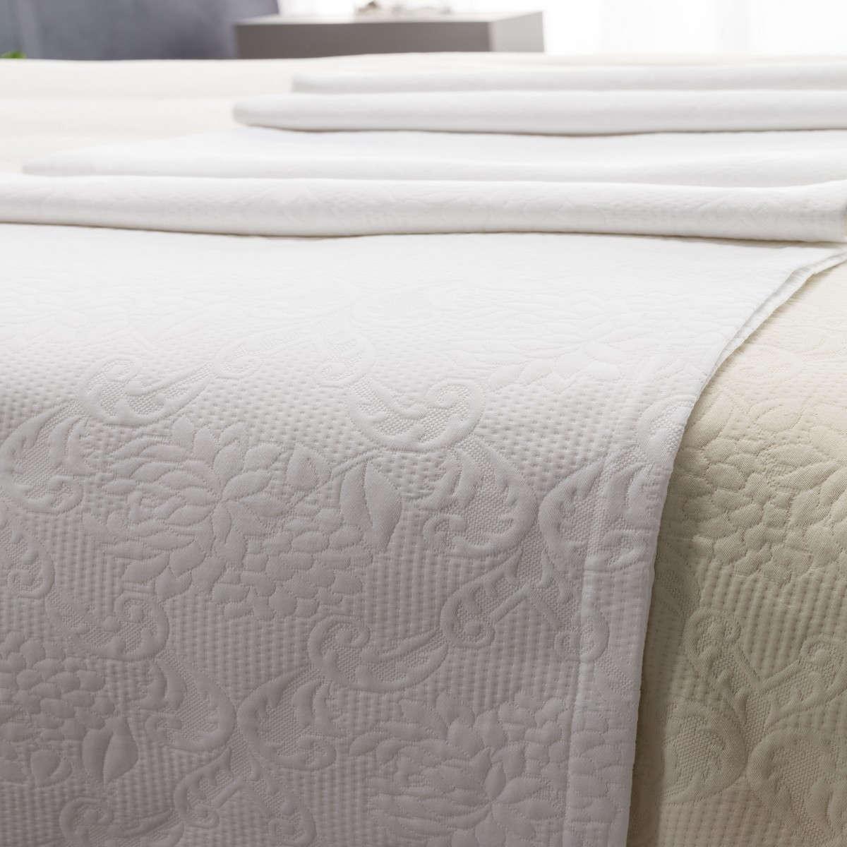 Κουβέρτα 1068 Πικέ White Vesta Home Υπέρδιπλo 260x250cm