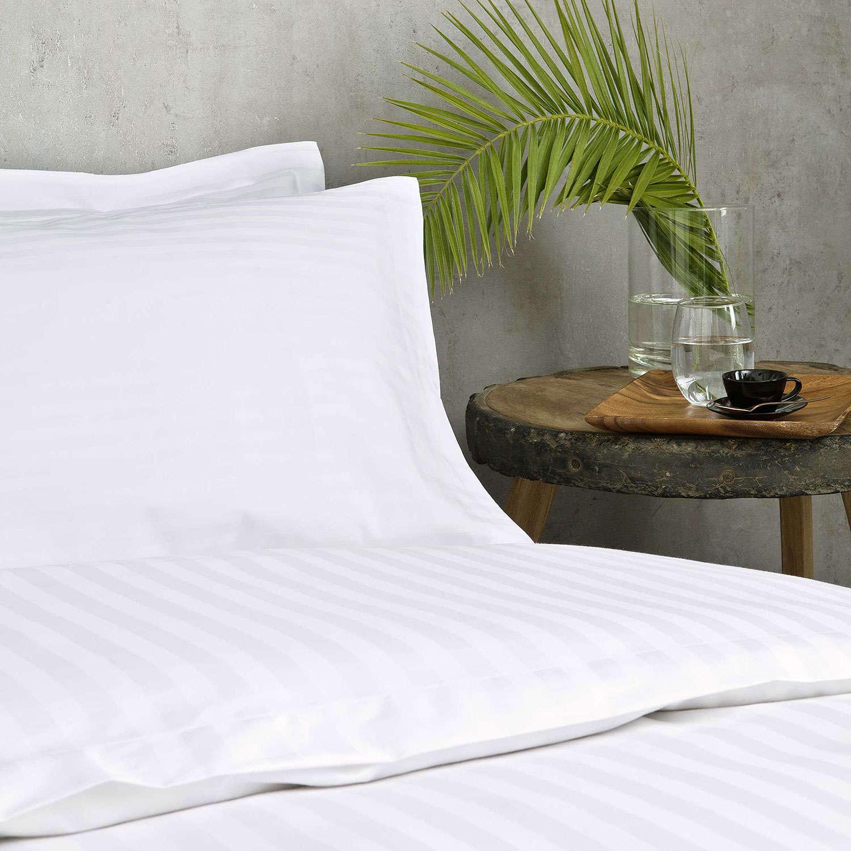 Μαξιλαροθήκη Ξενοδοχείου Oxford 3 Πλευρών White 230 Κλωστές Σατέν ρίγα 1cm 60% Βαμβ. Πενιέ 40% Πολ. 55X75 52x75cm