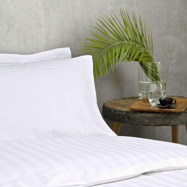 Μαξιλαροθήκη Ξενοδοχείου Oxford 3 Πλευρών White 240 Κλωστές Σατέν ρίγα 1cm 100% Βαμβάκι Πενιέ 55X75 52x75cm