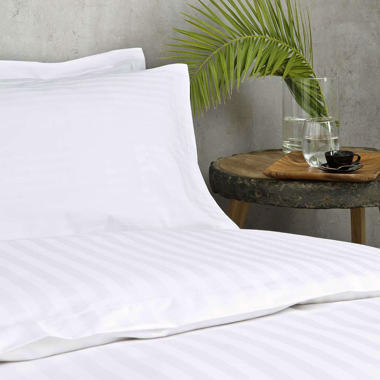 Παπλωματοθήκη Ξενοδοχείου White 230 Κλωστές Σατέν ρίγα 1cm 60% Βαμβάκι Πενιέ 40% Πολυέστερ Μονό 170x240cm