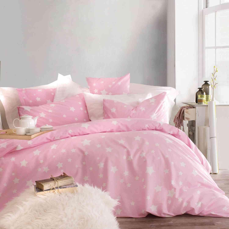 Σετ Σεντόνια Με Λάστιχο Stardust Pink Ρυθμός Μονό 160x260cm