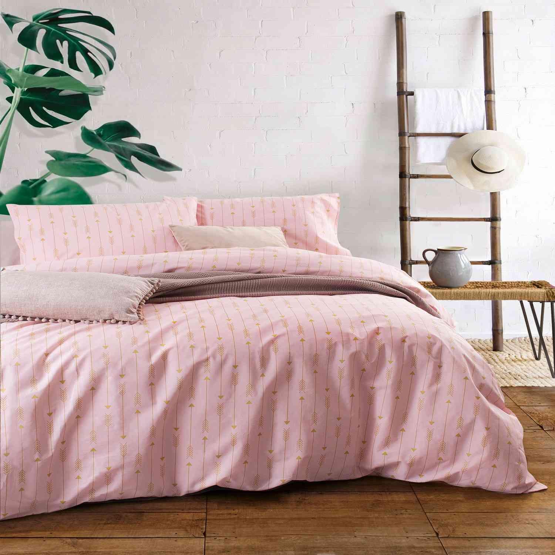 Σετ Σεντόνια Με Λάστιχο Arrow Pink Ρυθμός Υπέρδιπλo 165x230cm