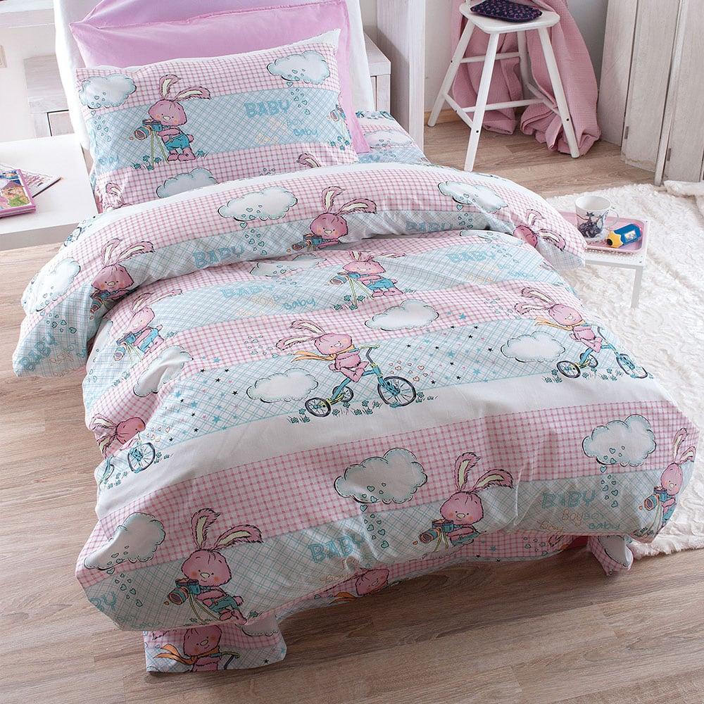 Σεντόνια Παιδικά Σετ 3τμχ Fluffy Pink Ρυθμός Μονό 160x260cm