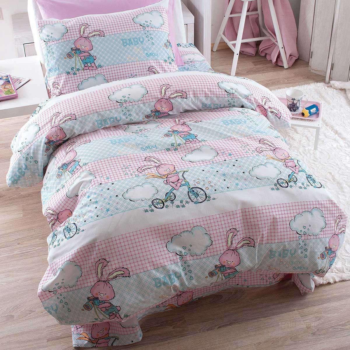 Σετ Σεντόνια Παιδικά Με Λάστιχο Fluffy Pink Ρυθμός Μονό 105x205cm