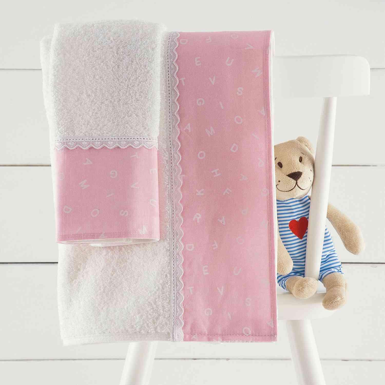 Σετ Πετσέτες Παιδικές 2τμχ Letters Pink Ρυθμός Σετ Πετσέτες