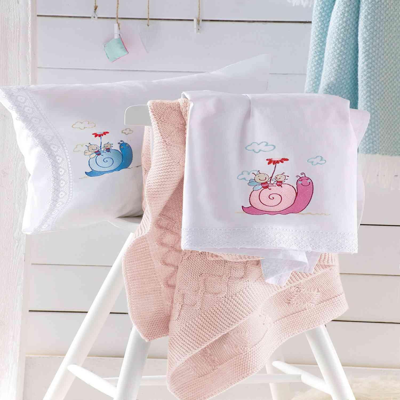 Κουβέρτα Πικέ Με Κέντημα Saly & Gary White-Pink Ρυθμός Κούνιας 120x150cm