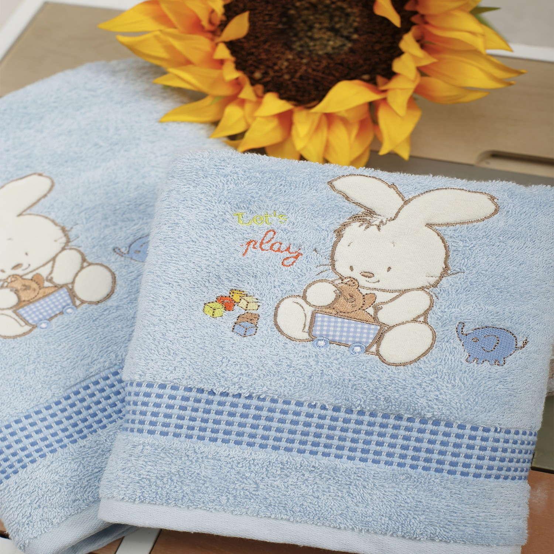 Πετσέτες Σετ 2τμχ Με Κέντημα Bunny Blue Sb Home Σετ Πετσέτες