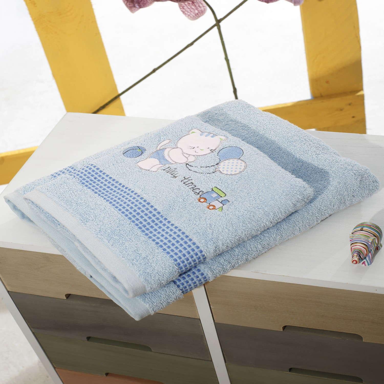 Πετσέτες Σετ 2τμχ Με Κέντημα Kitten Blue Sb Home Σετ Πετσέτες