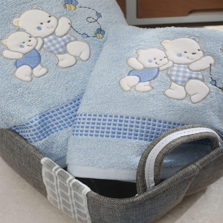 Πετσέτες Σετ 2τμχ Με Κέντημα Teddy Bear Blue Sb Home Σετ Πετσέτες