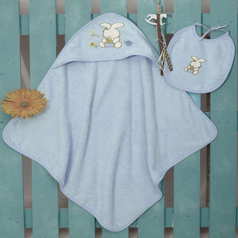 Σετ Κάπα Με Κέντημα & Σαλιάρα Bunny Blue Sb Home 0-2 ετών One Size
