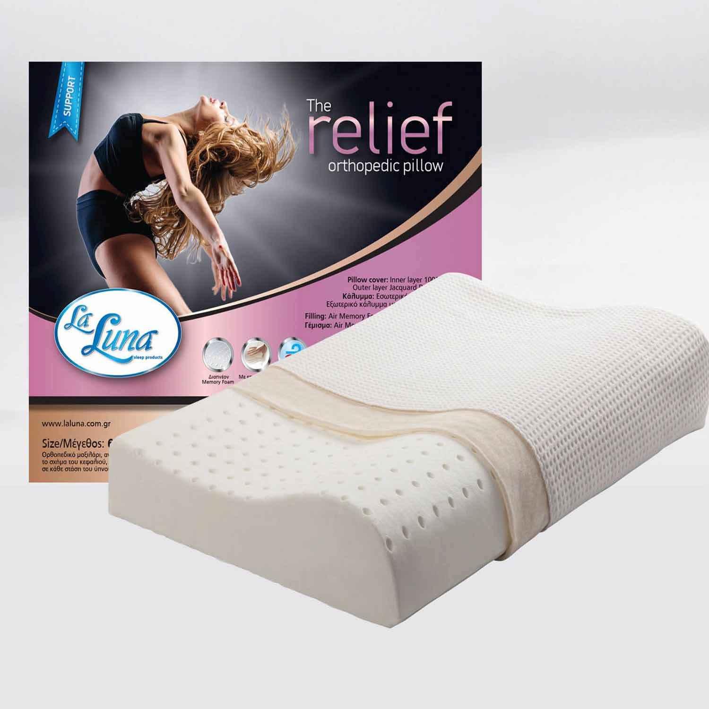 Μαξιλάρι Ύπνου Memory Foam Relif Orthopedic La Luna 30Χ50