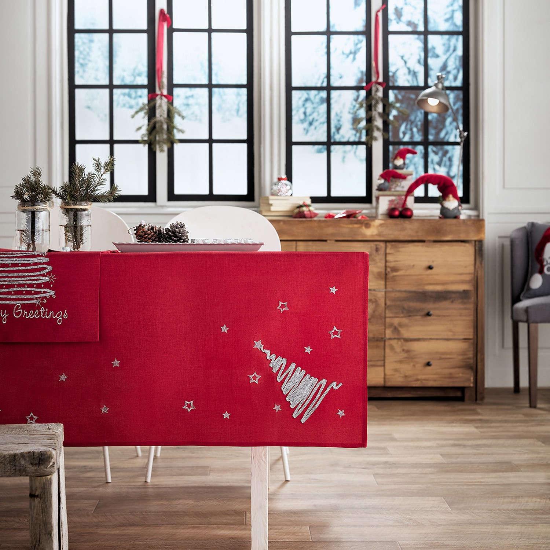 Τραπεζομάντηλο Χριστουγεννιάτικο 231/02 Κόκκινο Gofis Home 120X120 135x135cm