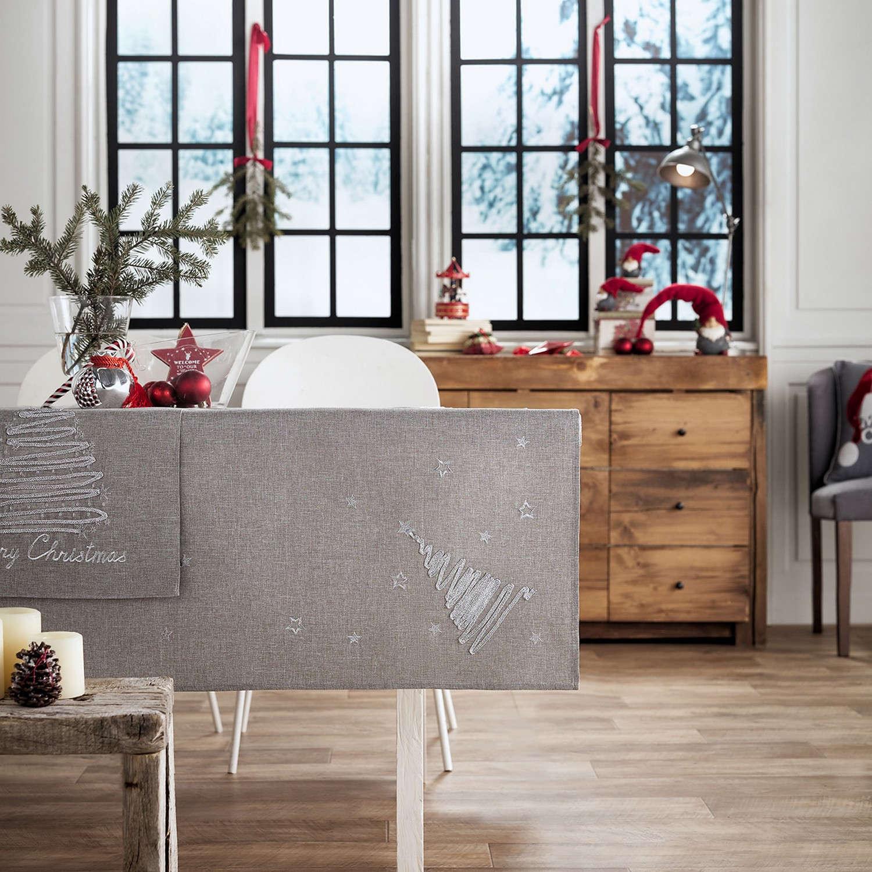 Τραπεζομάντηλο Χριστουγεννιάτικο 231/15 Γκρι Gofis Home 120X120 135x135cm