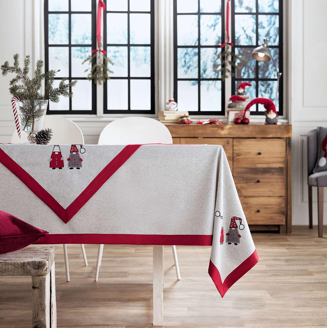 Τραπεζομάντηλο Χριστουγεννιάτικο 833 Γκρι & Κόκκινο Gofis Home 120X120 135x135cm