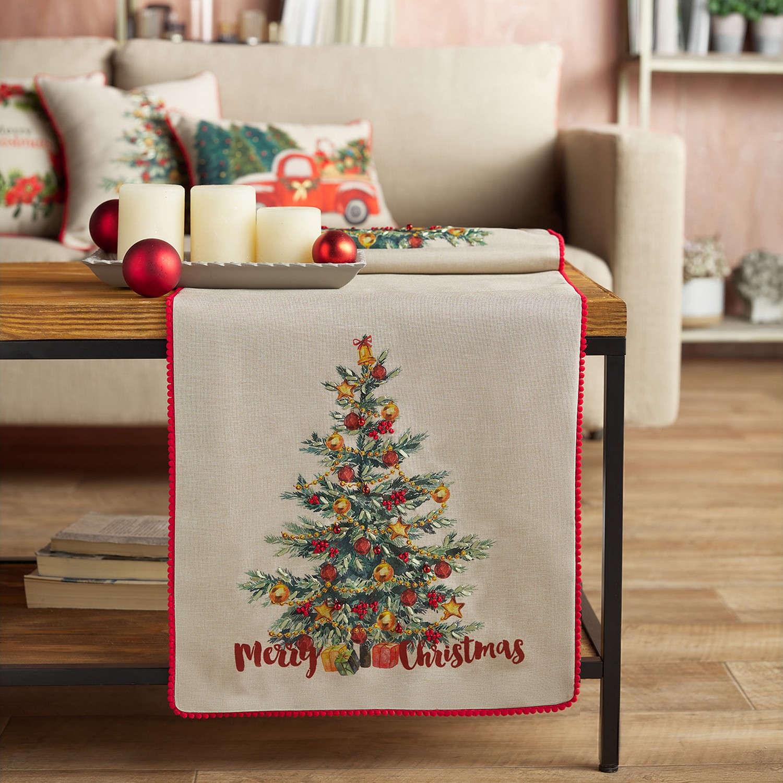 Runner Χριστουγεννιάτικο 953 Μπεζ & Κόκκινο Gofis Home 40Χ150