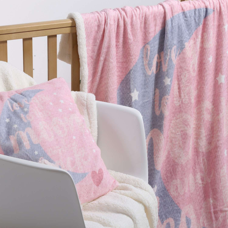 Κουβέρτα Fleece Moon And Back Pink Nef-Nef Κούνιας 110x140cm