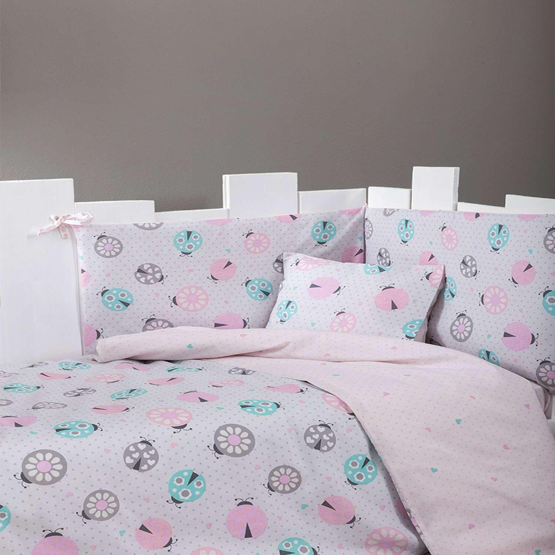Σεντόνια Βρεφικά Σετ Lovebug Pink – Ciel Nima Κούνιας 120x170cm