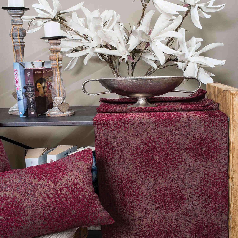 Μαξιλάρι Διακοσμητικό (Με Γέμιση) Chicago 10 Bordo Teoran 30Χ50 Βαμβάκι-Ακρυλικό