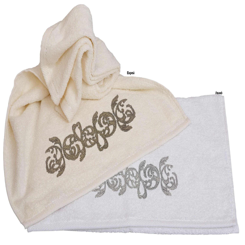 Πετσέτες Απλικέ Σετ 3τμχ Σχ.35 Λευκό Viopros Σετ Πετσέτες