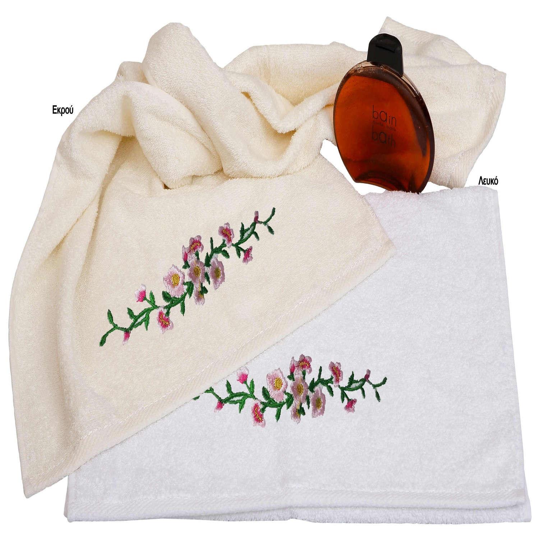 Πετσέτες Απλικέ Σετ 2τμχ Σχ.39 Λευκό Viopros Σετ Πετσέτες