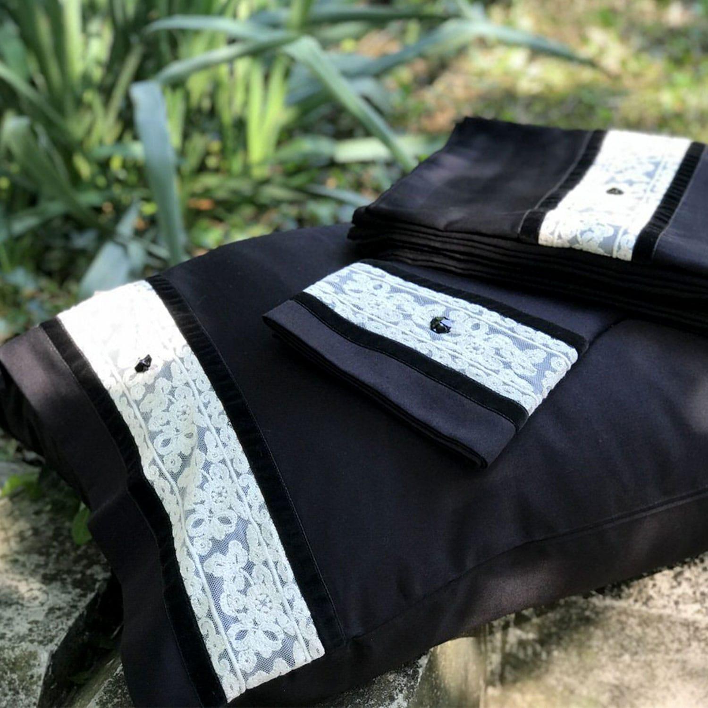 Σεντόνια Σετ Swarovski Victoria Black Margolia King Size 240x270cm