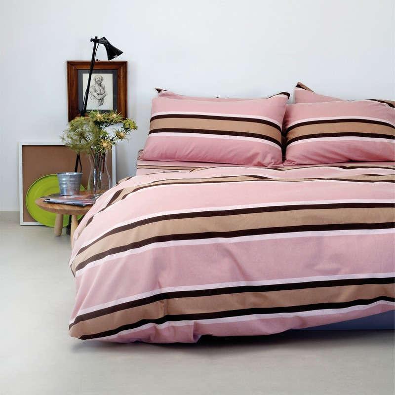 Σεντόνια Σετ Με Λάστιχο 3Τμχ Winter Line Stripe Rose Melinen Μονό 105x200cm