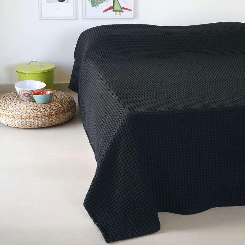 Κουβέρτα Πικέ Patmos 20 Βάφλα Black Melinen Υπέρδιπλo 230x240cm